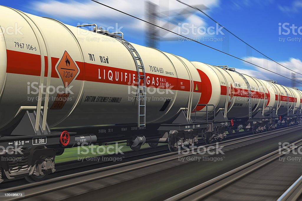 Freight train with gasoline tanker cars royalty-free stock photo
