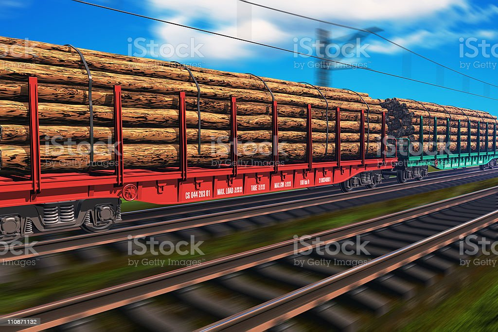 Freight train with lumber stock photo