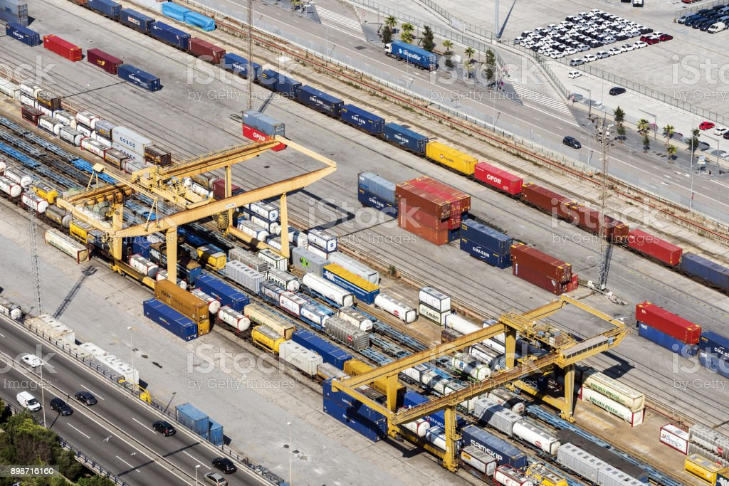 Freight Trains and Containers in Port of Barcelona, Spain stock photo