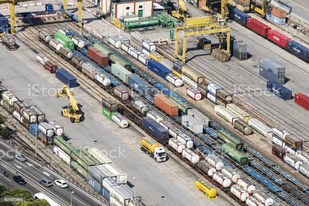 Freight Trains and Containers in Port of Barcelona, Spain View from Montjuic Hill stock photo