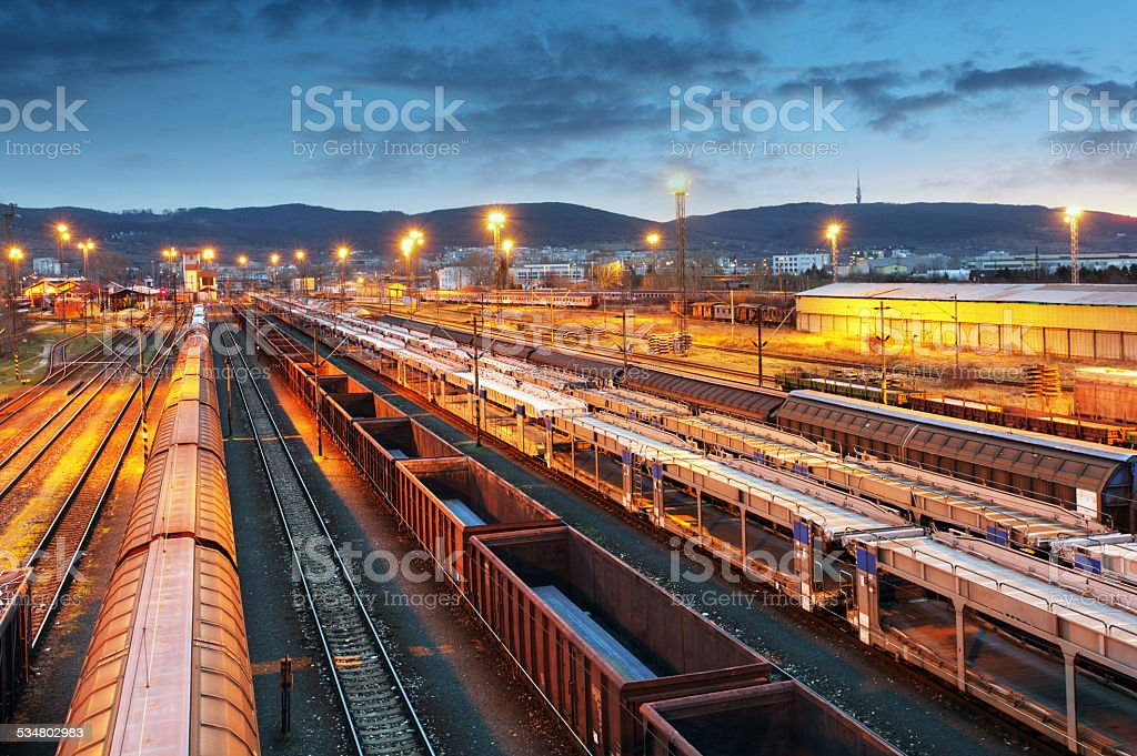 Freight trains - Cargo transportation stock photo