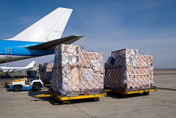 Freight transportation at the airport stock photo