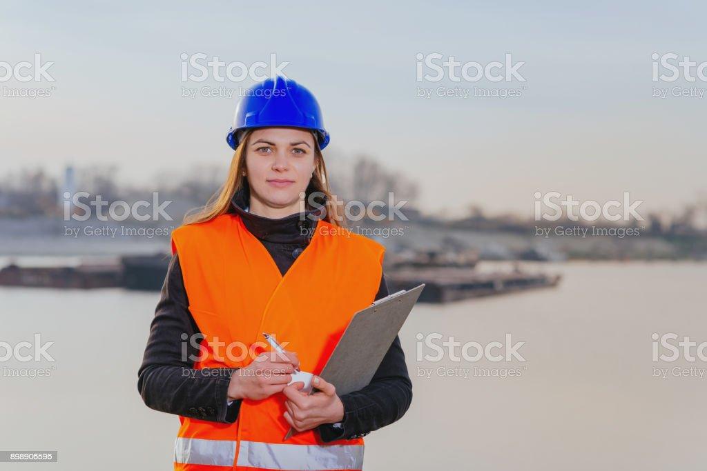 Freight transportation industry - Engineer working on inland waterways improvement stock photo