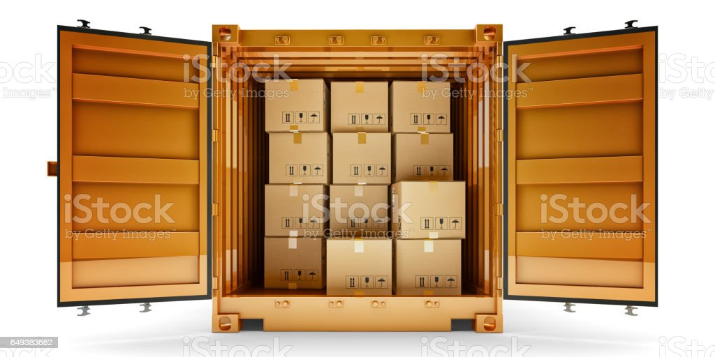 Freight transportation, package shipment, shipping and delivery concept stock photo