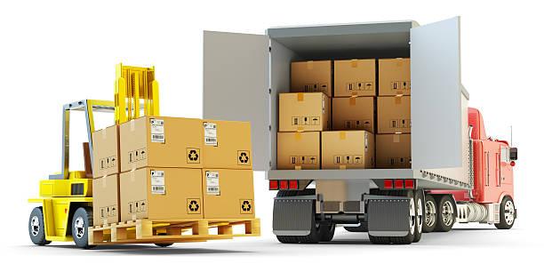Fret, d'expédition et de formules concept logistique d'entrepôt - Photo