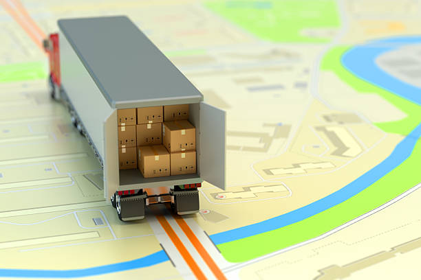 Freight transportation, packages shipment, shipping, logistics and business concept – Foto