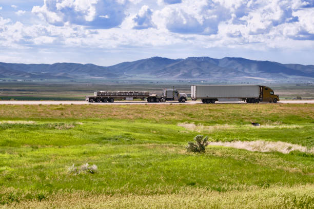 Freight trucks in Idaho countryside stock photo