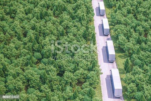 istock Freight Trucks On The Road 869313402
