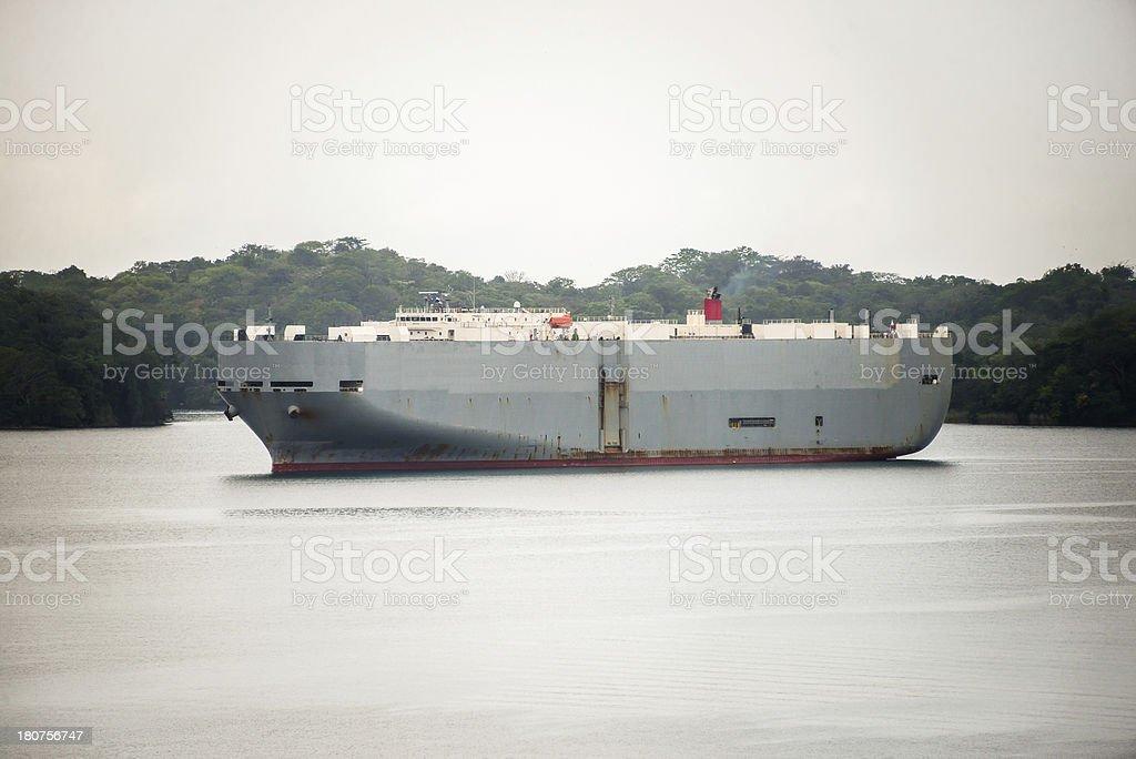 Freighter Anchored in Gatun Lake Panama royalty-free stock photo