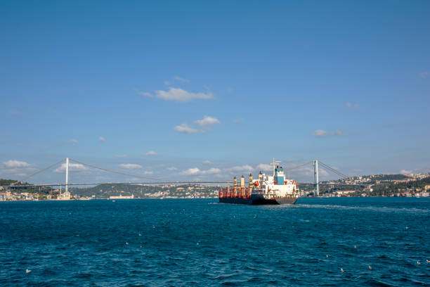 Freighter going from Istanbul Bosphorus to Black Sea stock photo