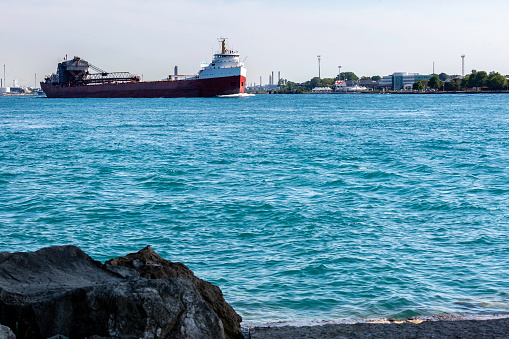 freighter going up river