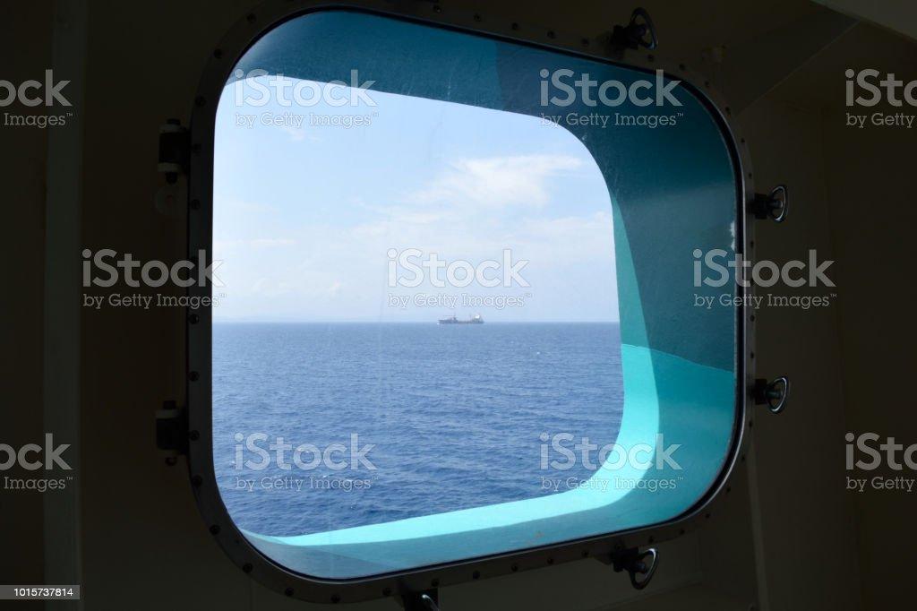 A Freighter on the Horizon stock photo