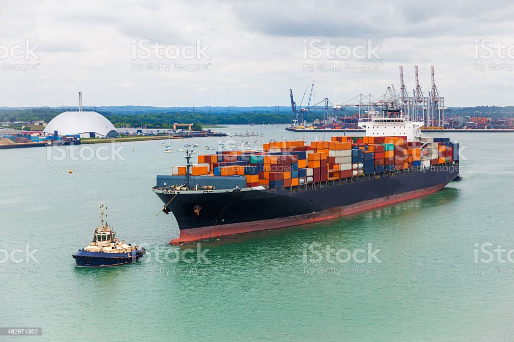 freighter shipping stock photo