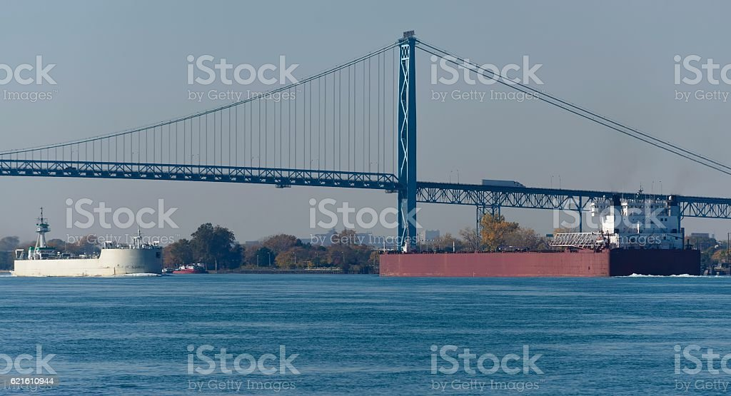 Freighters on Detroit River stock photo