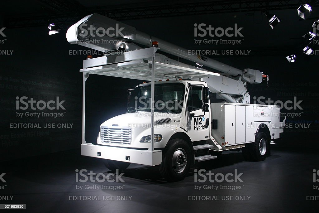 Freightliner M2e Hybrid with aerial platform stock photo