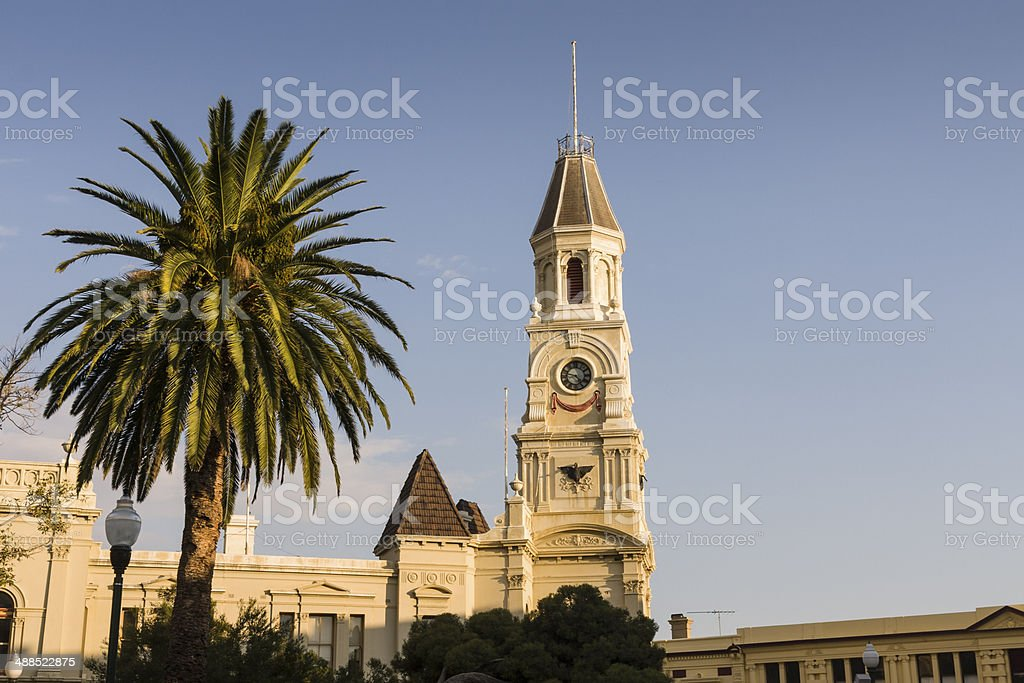 Fremantle clock tower near Perth in Western Australia stock photo
