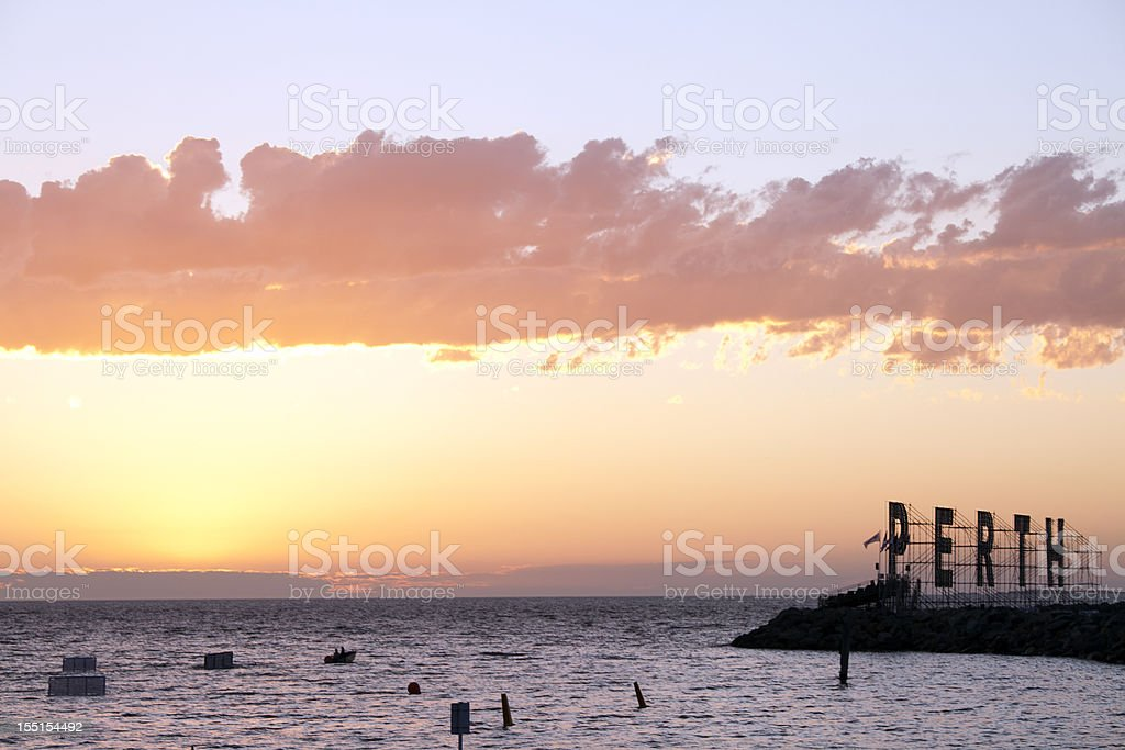Fremantle Harbour, Australia, at sunset with Perth sign stock photo