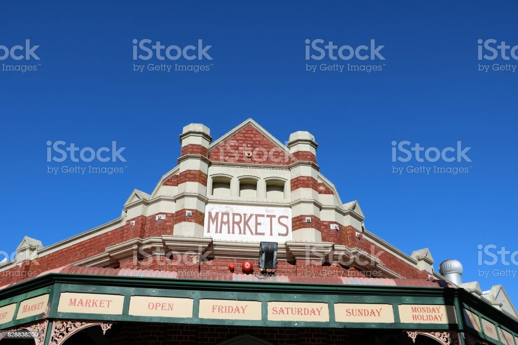 Fremantle Markets building in Fremantle, Western Australia stock photo