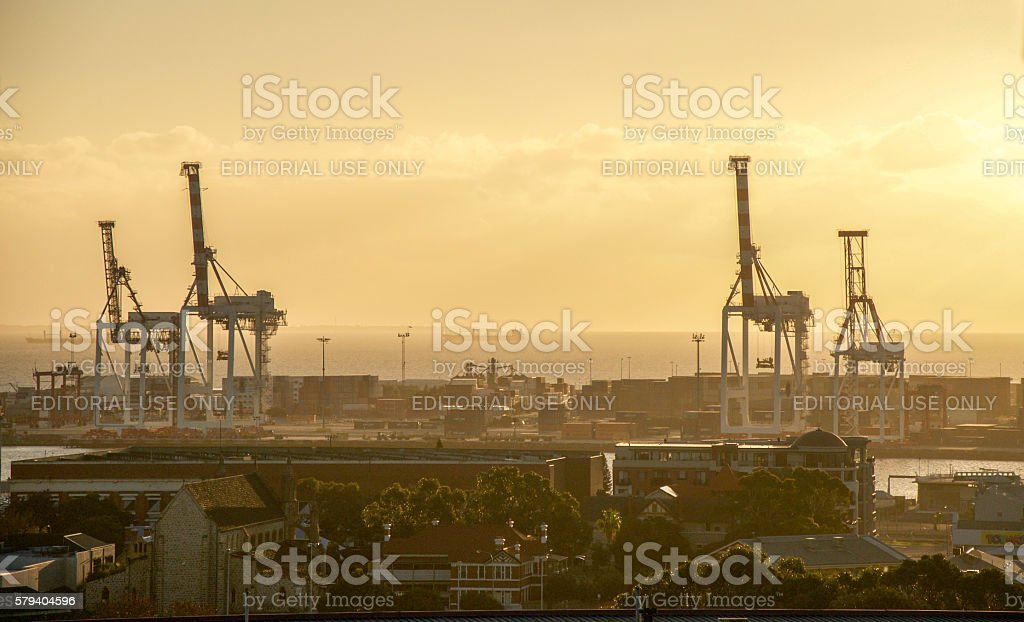 Fremantle Port at Sunset stock photo