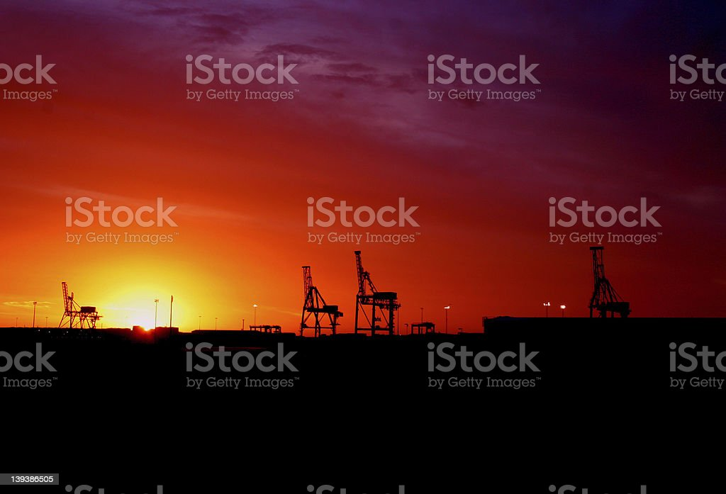 Fremantle Sunset at the Docklands stock photo