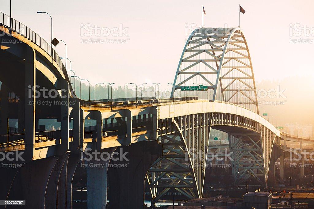 Fremont Bridge in Portland Oregon stock photo