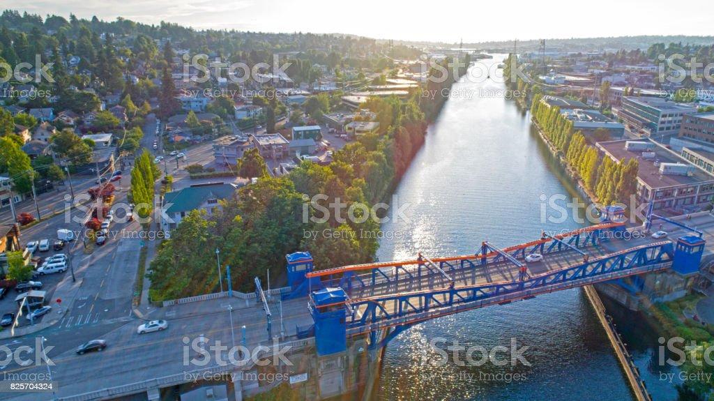 Fremont Bridge Seattle Lake Washington Ship Canal Magnolia Neighborhood Aerial stock photo