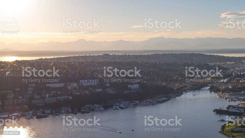 Fremont Cut, Lake Union Ballard Locks, Salmon Bay, Olympic Mountains stock photo