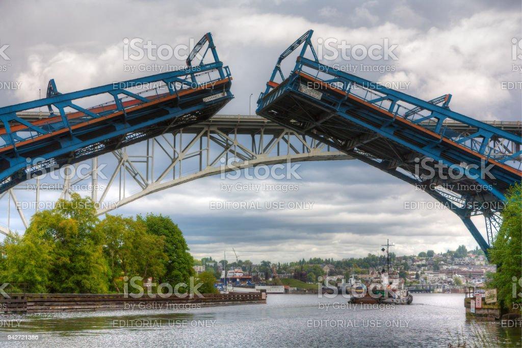 Fremont drawbridge closing stock photo