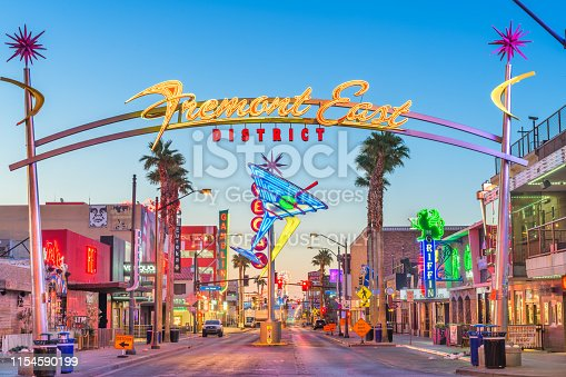 Las Vegas, Nevada - May 13, 2019: Fremont East District of Las Vegas at dawn. It is among the most famous streets in the Las Vegas Valley.