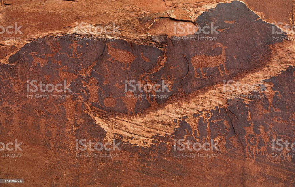 Fremont rock art, ancient petroglyphs, Moab, Utah, USA stock photo