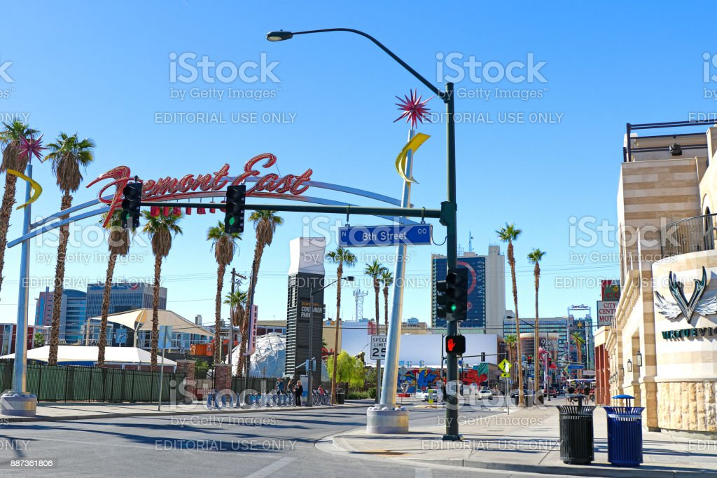 Fremont Street Experience at morning. stock photo