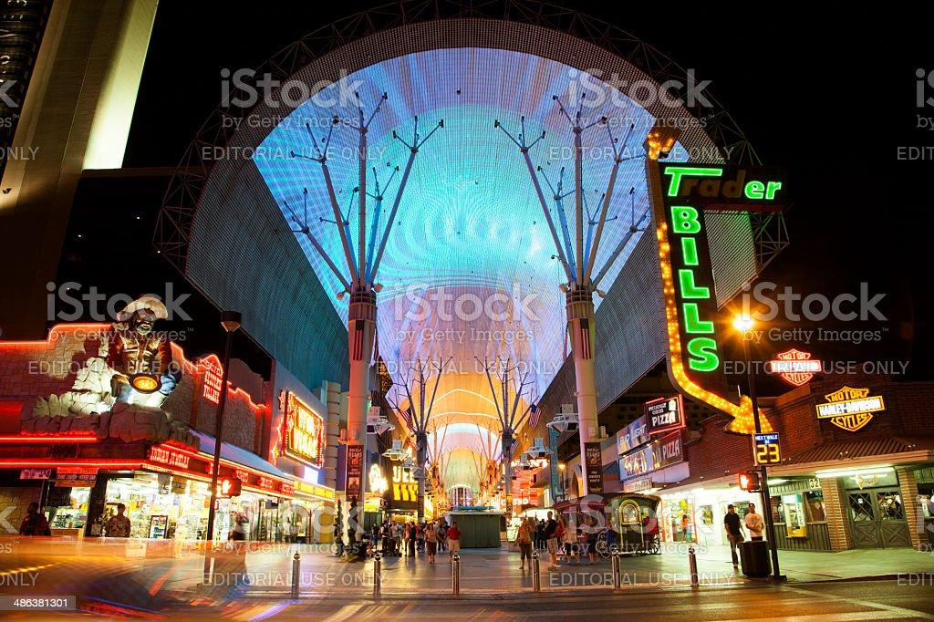 Fremont Street in Las Vegas, Nevada by night stock photo