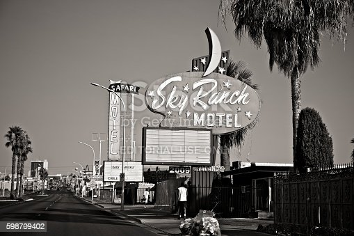 Las Vegas, Nevada, USA - June 28, 2013: Motel signs lining Fremont street act as a reminder of the early days of the Vegas scene.