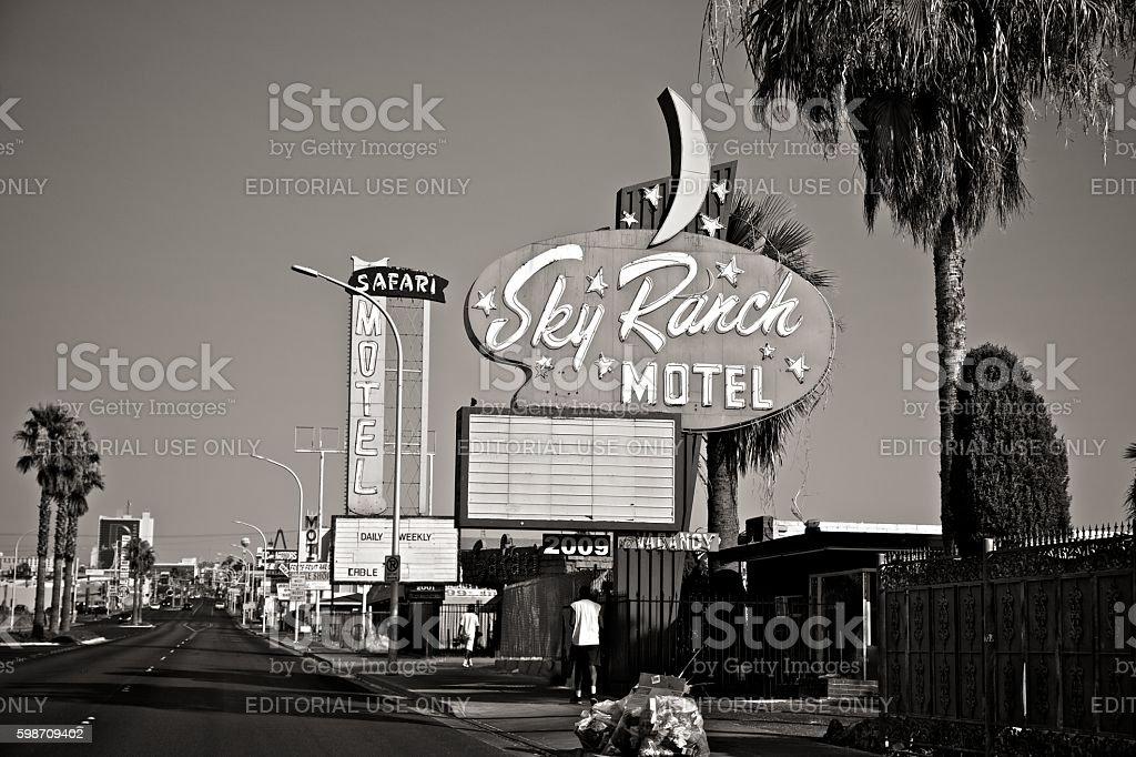Fremont Street Motels stock photo
