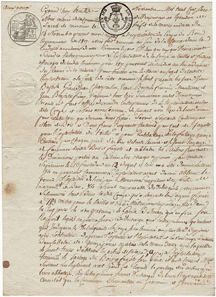 Französische 1819 Dokument auf Pergament Papier mit kursiv Schreiben French – Foto