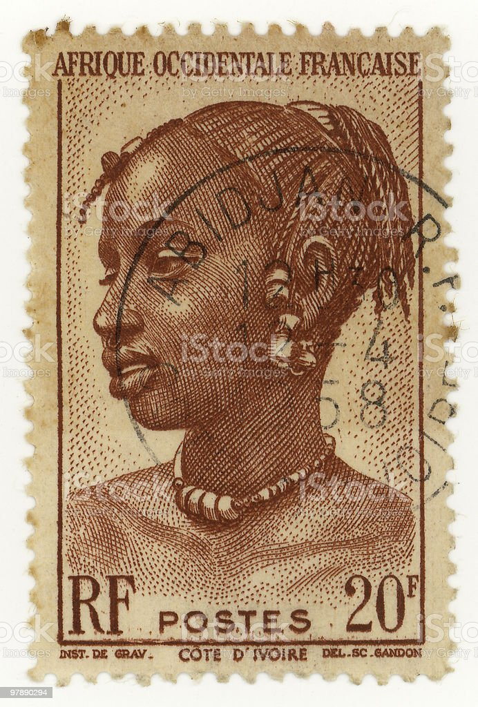 French Africa Stamp royalty-free stock photo