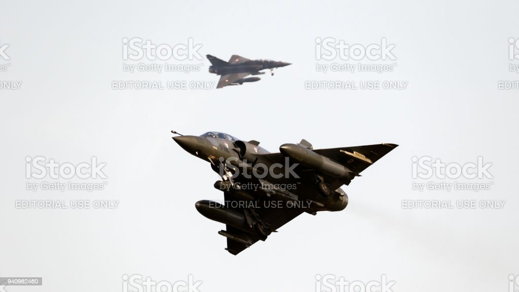 French Air Force Dassault Mirage 2000 fighter jets stock photo