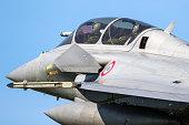 Leeuwarden , Netherlands - April 19, 2018: French Air Force Dassault Rafale fighter jet landing during exercise Frisian Flag.