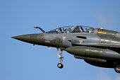 LEEUWARDEN, THE NETHERLANDS - APR 8, 2016: French Air Force Mirage 2000D landing during exercise Frisian Flag.