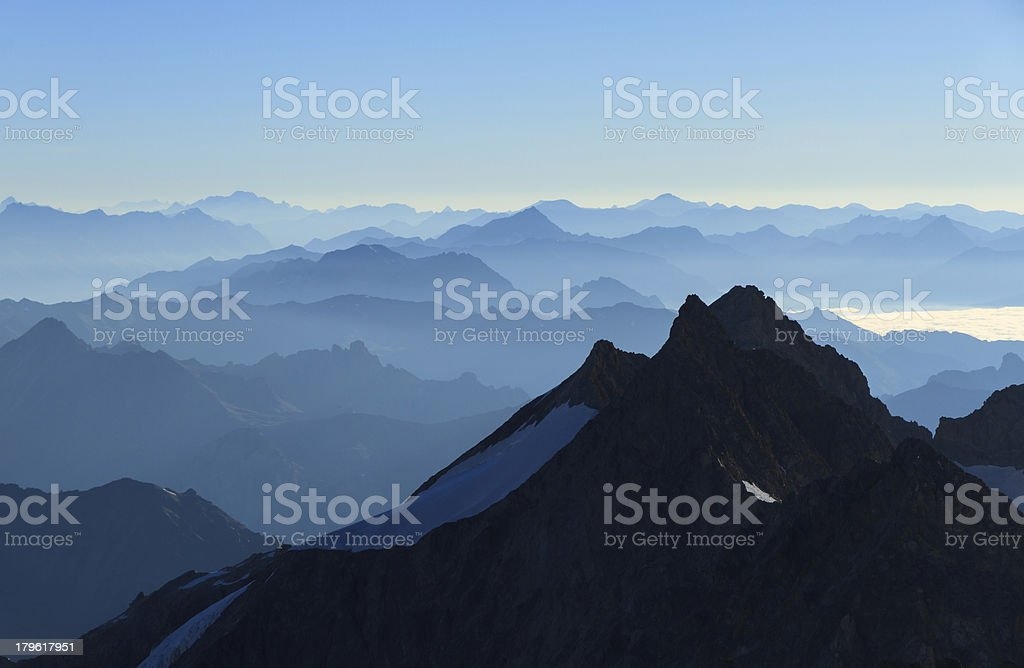 French Alps in the morning. stock photo
