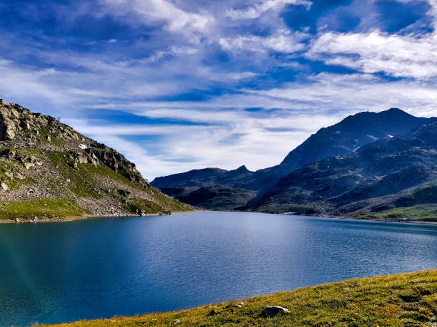 French alps - Lake of Cos, Mountain of Seven Laux, Isère stock photo
