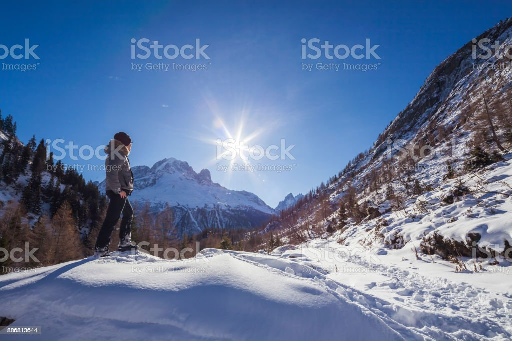 French Alps near Chamonix - Winter - Col des Montets stock photo