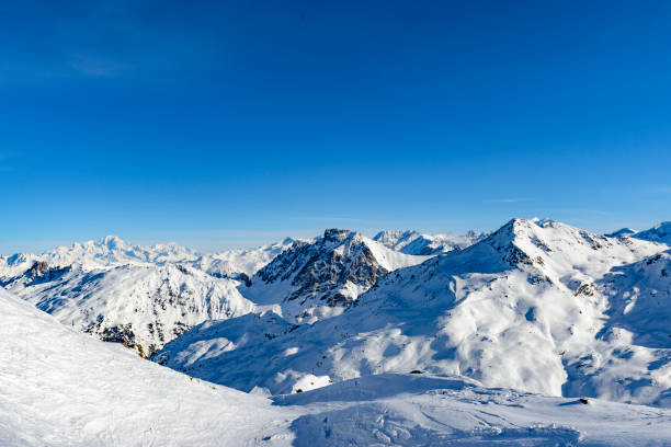 French Alps winter panoramic view high up in the snowy mountains stock photo
