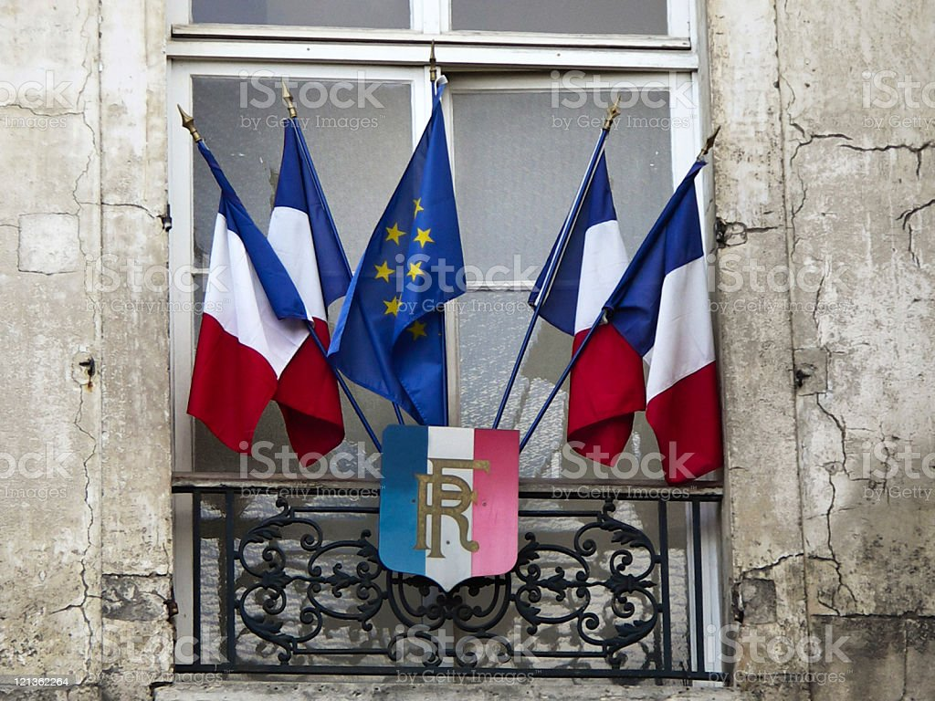French and European flags stock photo