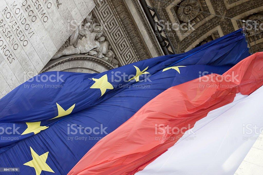 French and European Union flag stock photo