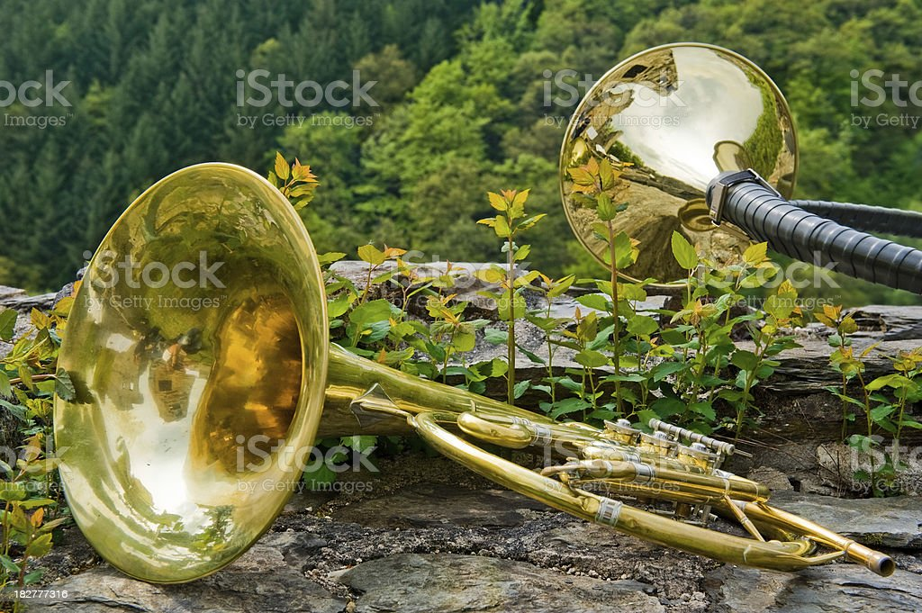 French and Hunting Horn stock photo