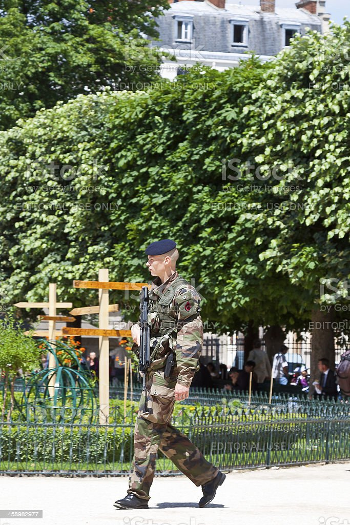 French Armed Forces soldier on patrol in Paris. royalty-free stock photo