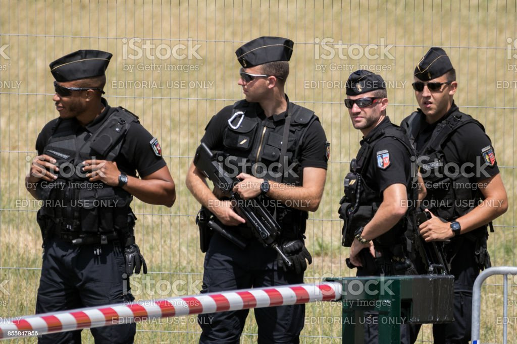 French armed National Gendarmerie stock photo