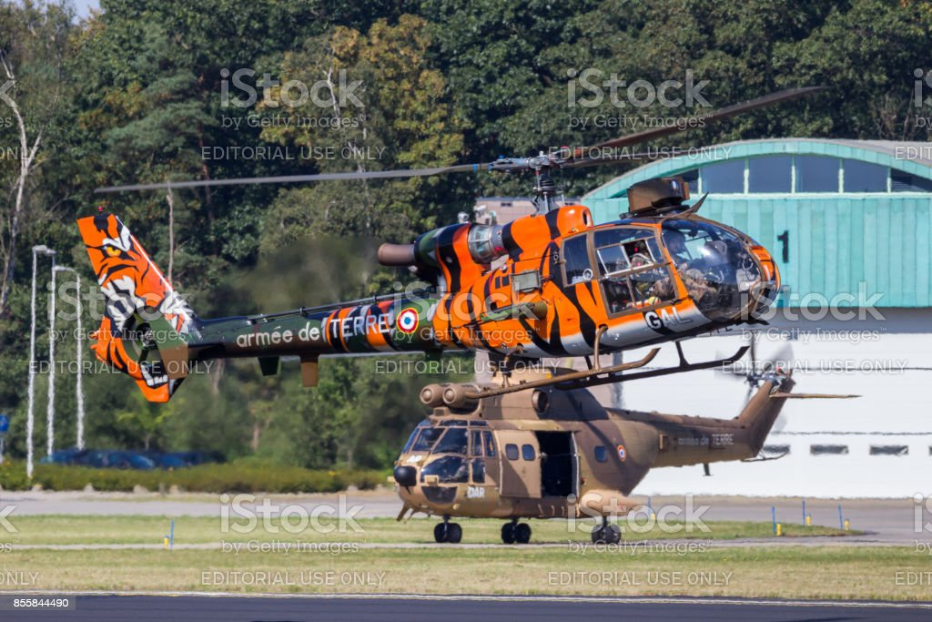French Army Gazelle helicopter stock photo