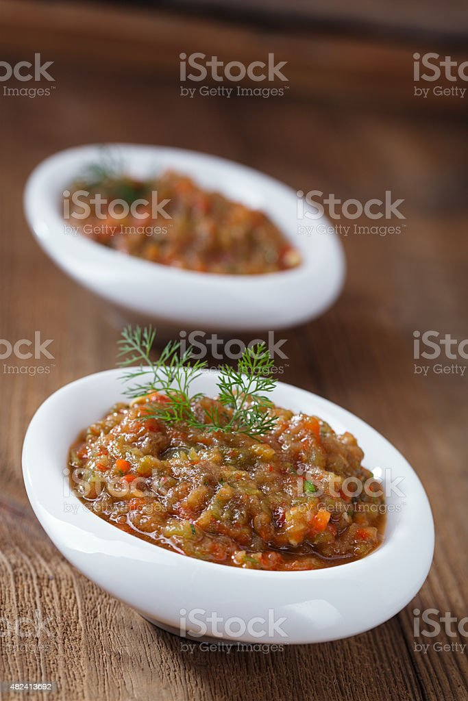 french aubergine eggplant caviar with oil stock photo